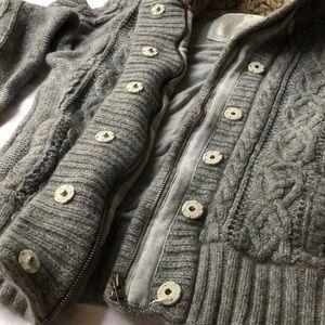 Grey fur hoodied American eagle coat